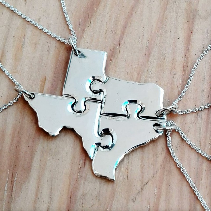 State Map Puzzle Necklace