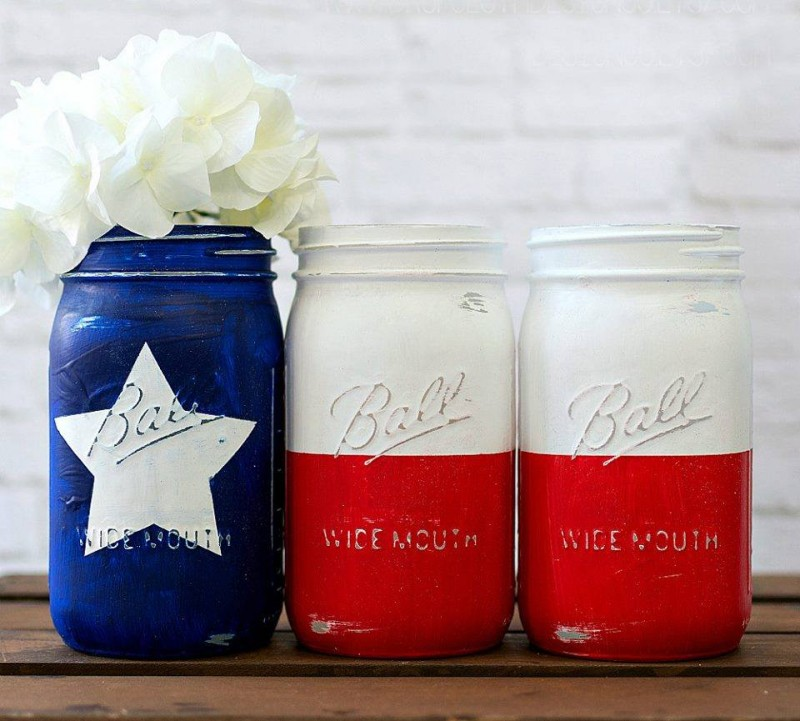 Texas Flag Mason Jar
