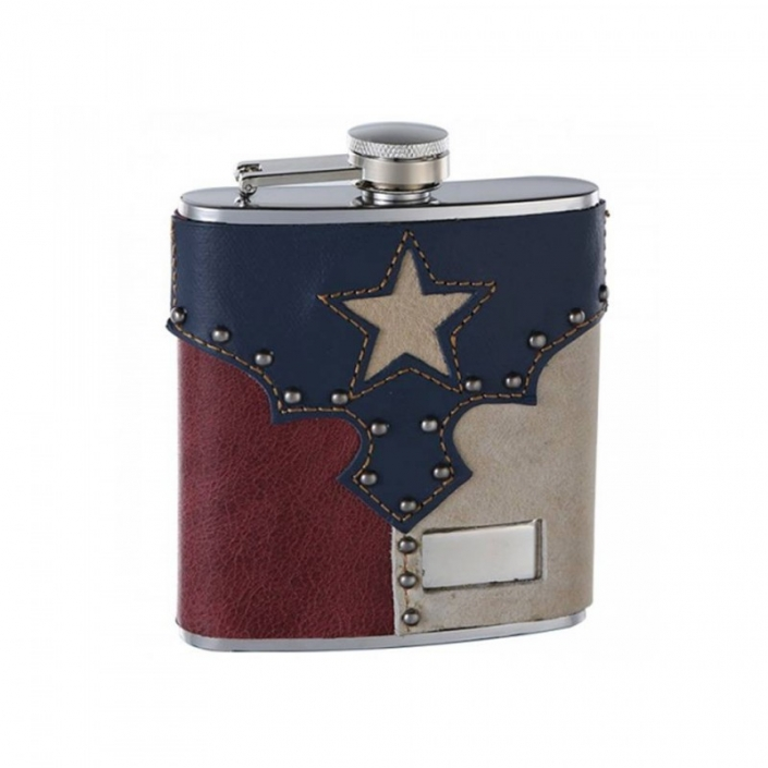 Genuine Leather Engraved Hip Flask