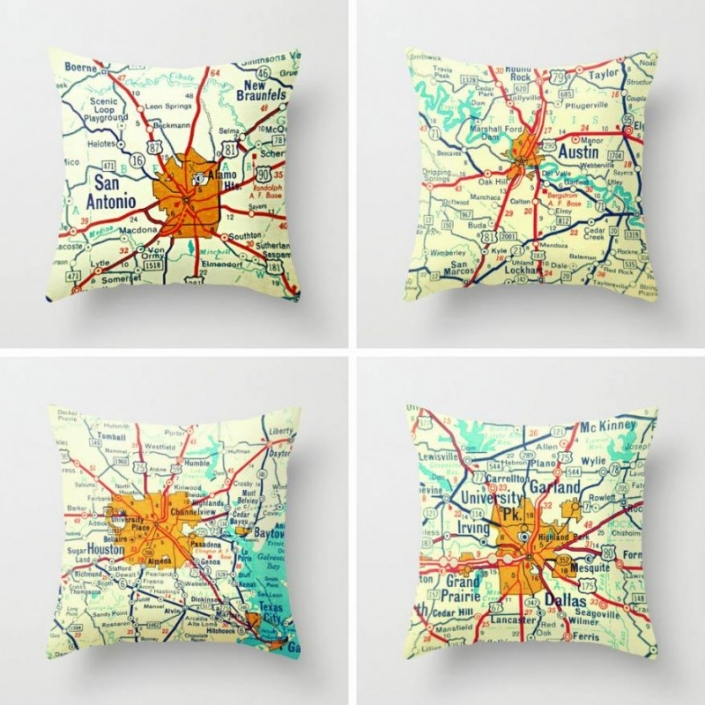 Vintage Texas Map Pillow Cover
